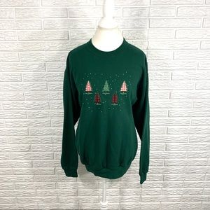 Vintage Willow Bay Green Christmas Tree Sweatshirt